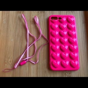 Accessories - NEW Iphone 7/8/7+/8+ 3D Pink Hearts Case + Lanyard